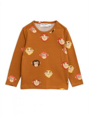 Mini Rodini Monkeys LS Tee, Brown