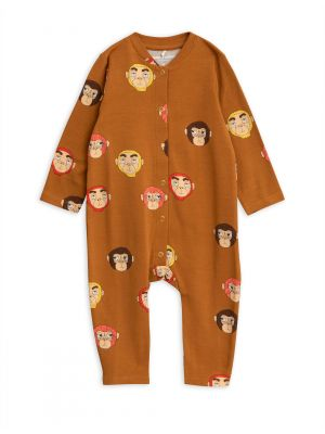 Mini Rodini Monkeys Jumpsuit, Brown