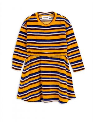 Mini Rodini Velour Stripe Dress, Yellow