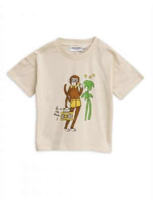 Mini Rodini Cool Monkey Tee, Offwhite