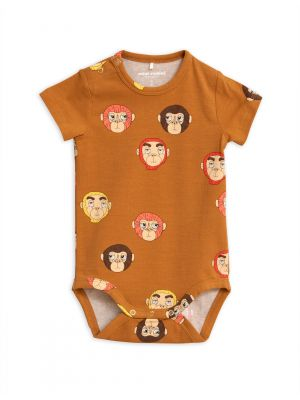 Mini Rodini Monkey SS Body, Brown