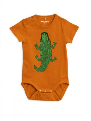 Mini Rodini Croco SS Body, Brown