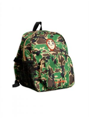 Mini Rodini Camo School Bag, Green
