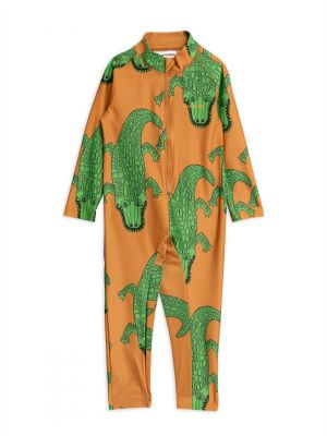Mini Rodini Croco UV Suit, Brown