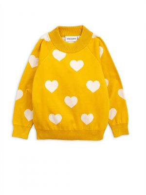 Mini Rodini Knitted Heart Sweater, Yellow
